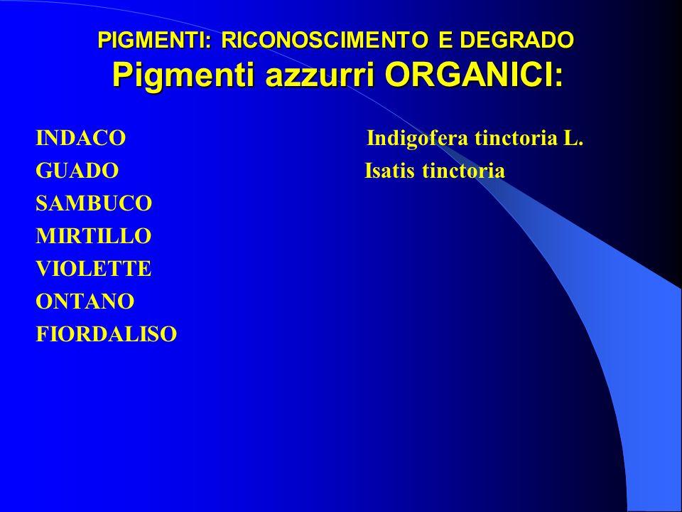 PIGMENTI: RICONOSCIMENTO E DEGRADO Pigmenti azzurri ORGANICI: INDACO Indigofera tinctoria L. GUADO Isatis tinctoria SAMBUCO MIRTILLO VIOLETTE ONTANO F