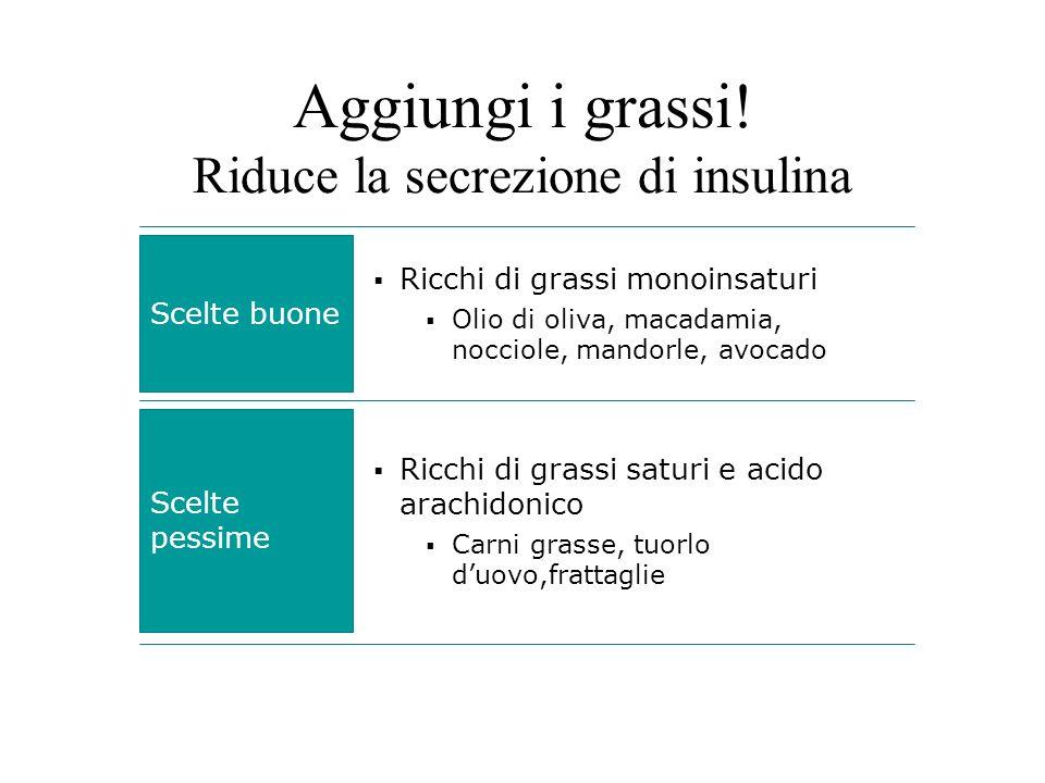 Aggiungi i grassi! Riduce la secrezione di insulina Scelte buone Ricchi di grassi monoinsaturi Olio di oliva, macadamia, nocciole, mandorle, avocado S