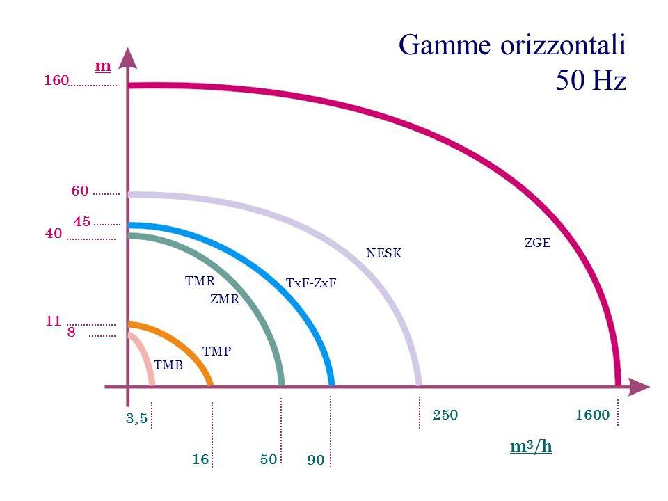 Gamme orizzontali 50 Hz TMB TMR TxF-ZxF ZGE ZMR 3,5 1650 250 90 1600 60 40 45 11 8 160 m 3 /h m TMP NESK