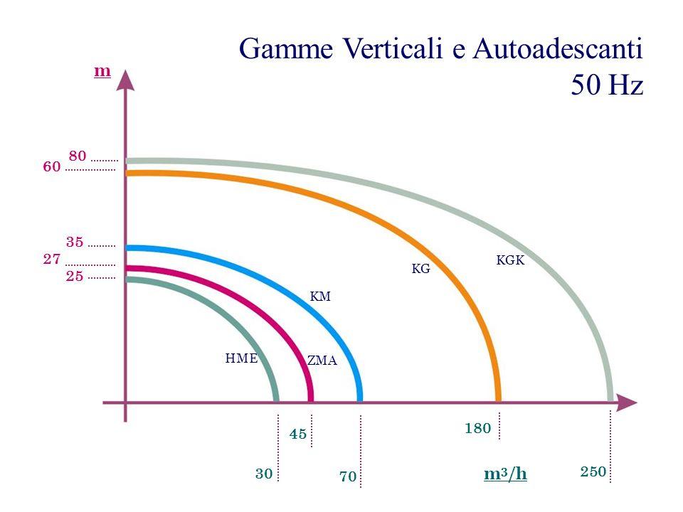 Gamme Verticali e Autoadescanti 50 Hz HME KM KGK ZMA 30 45 70 180 27 60 35 25 m 3 /h m 250 KG 80