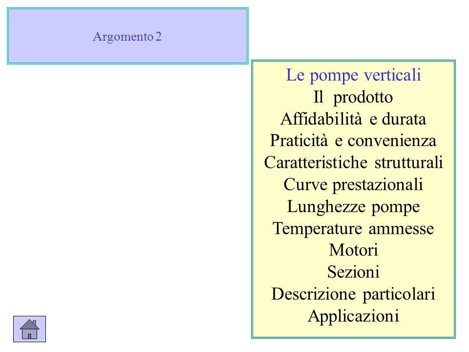 Argomento 2 Le pompe verticali Il prodotto Affidabilità e durata Praticità e convenienza Caratteristiche strutturali Curve prestazionali Lunghezze pom