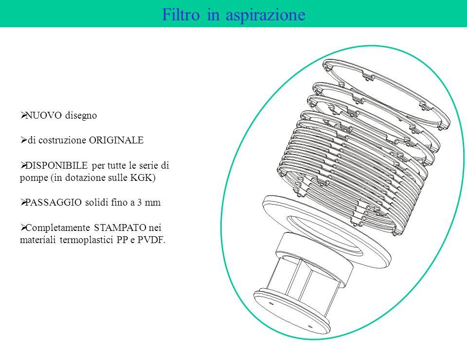 Filtro in aspirazione NUOVO disegno di costruzione ORIGINALE DISPONIBILE per tutte le serie di pompe (in dotazione sulle KGK) PASSAGGIO solidi fino a