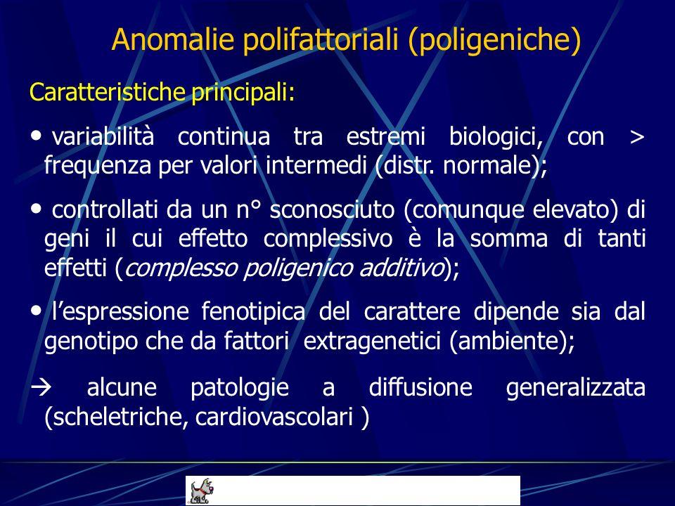 Caratteristiche principali: variabilità continua tra estremi biologici, con > frequenza per valori intermedi (distr. normale); controllati da un n° sc