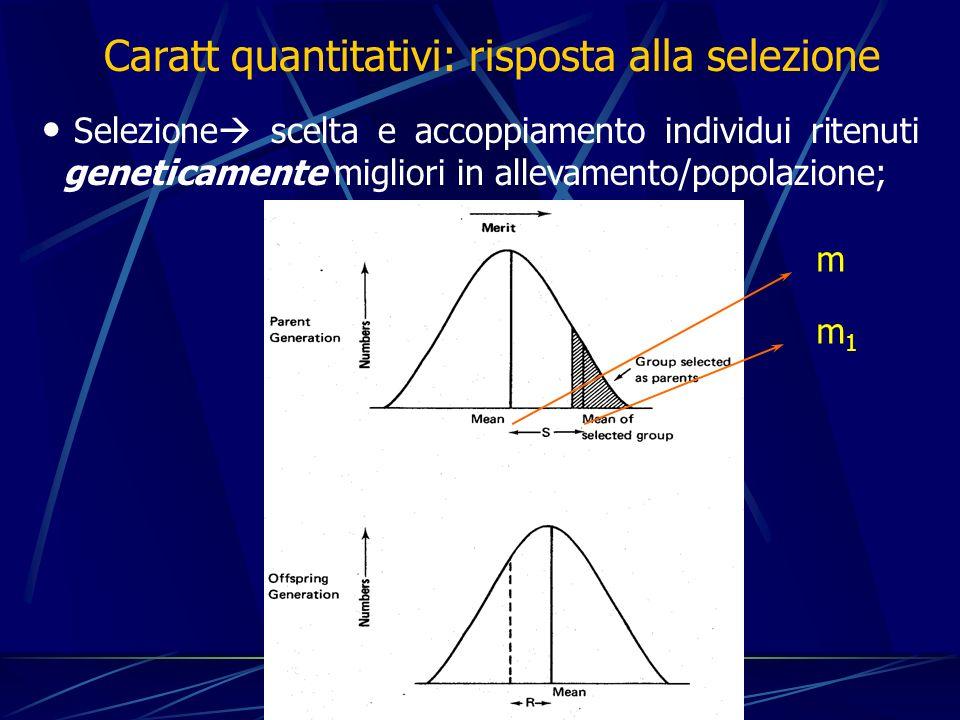 Selezione scelta e accoppiamento individui ritenuti geneticamente migliori in allevamento/popolazione; Caratt quantitativi: risposta alla selezione m