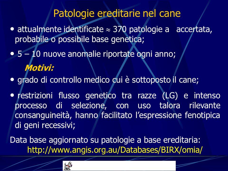 attualmente identificate 370 patologie a accertata, probabile o possibile base genetica; 5 – 10 nuove anomalie riportate ogni anno; Motivi: grado di c