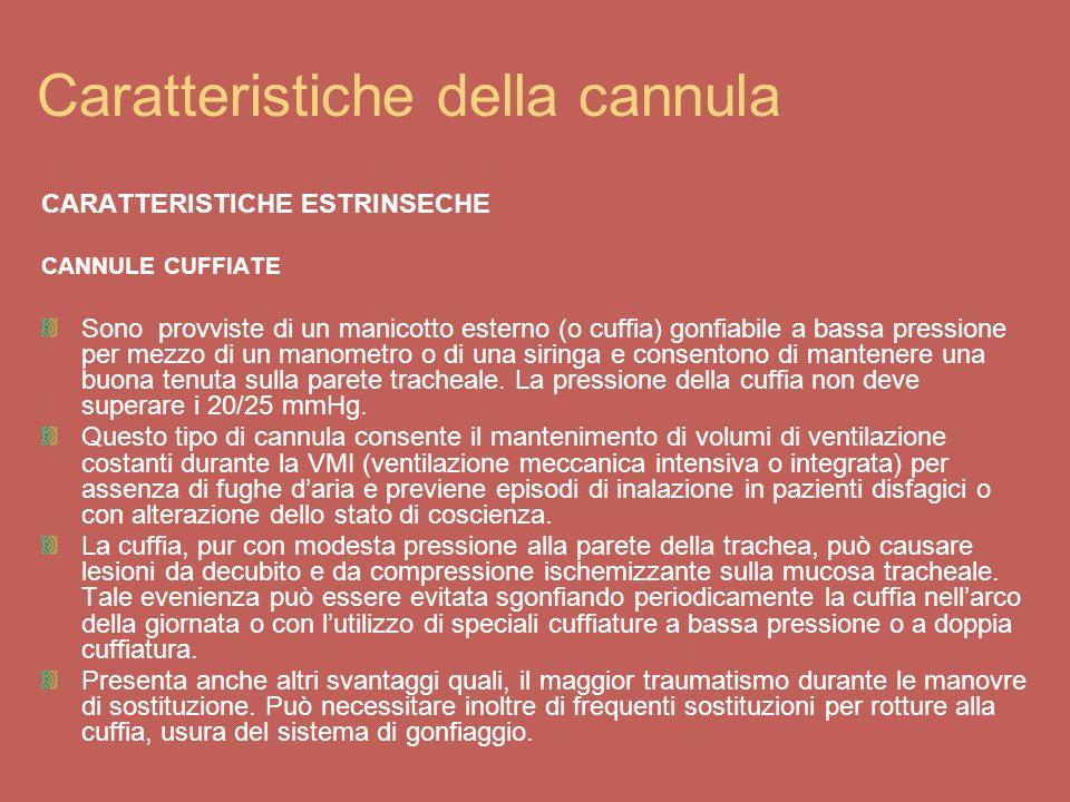Vari tipi di cannule CANNULE NON CUFFIATE Il loro utilizzo è consigliato in assenza di problemi di deglutizione, durante training di rimozione della cannula e qualora sia necessario mantenere la broncoaspirazione.