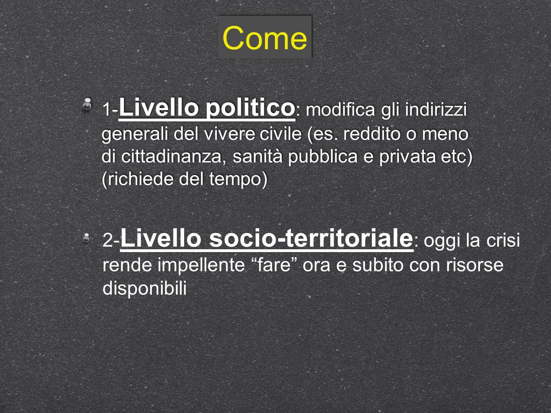 Come 1- Livello politico : modifica gli indirizzi generali del vivere civile (es. reddito o meno di cittadinanza, sanità pubblica e privata etc) (rich