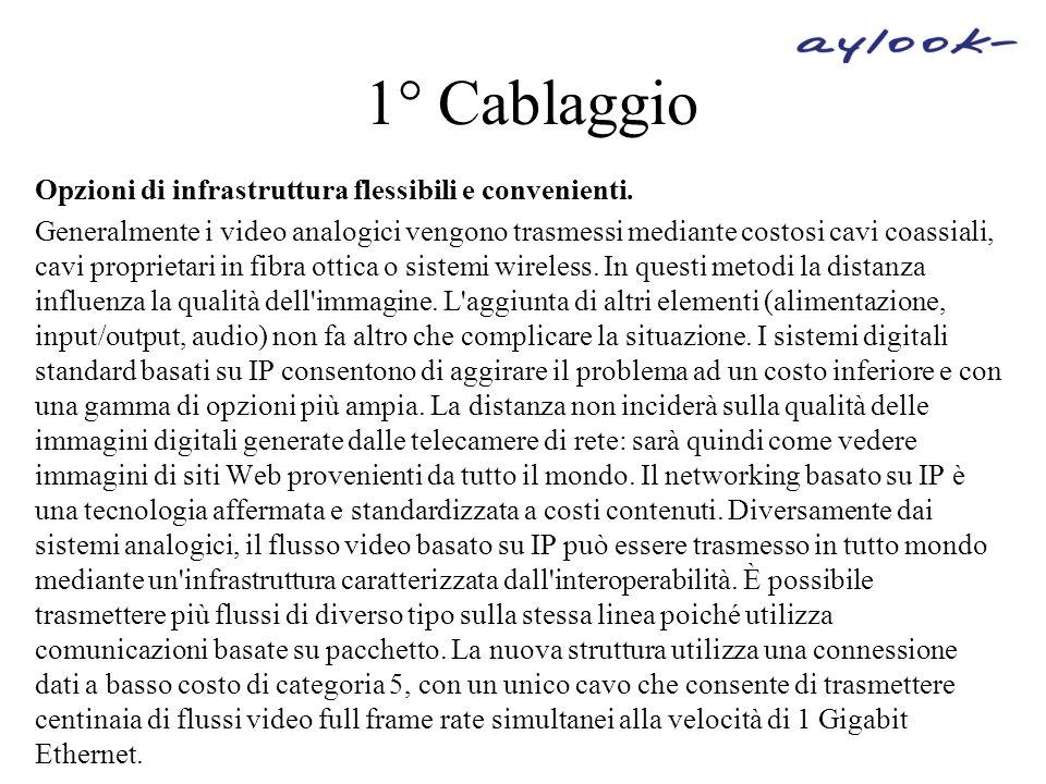 1° Cablaggio Opzioni di infrastruttura flessibili e convenienti. Generalmente i video analogici vengono trasmessi mediante costosi cavi coassiali, cav