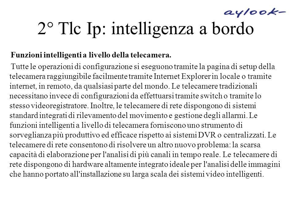 2° Tlc Ip: intelligenza a bordo Funzioni intelligenti a livello della telecamera. Tutte le operazioni di configurazione si eseguono tramite la pagina