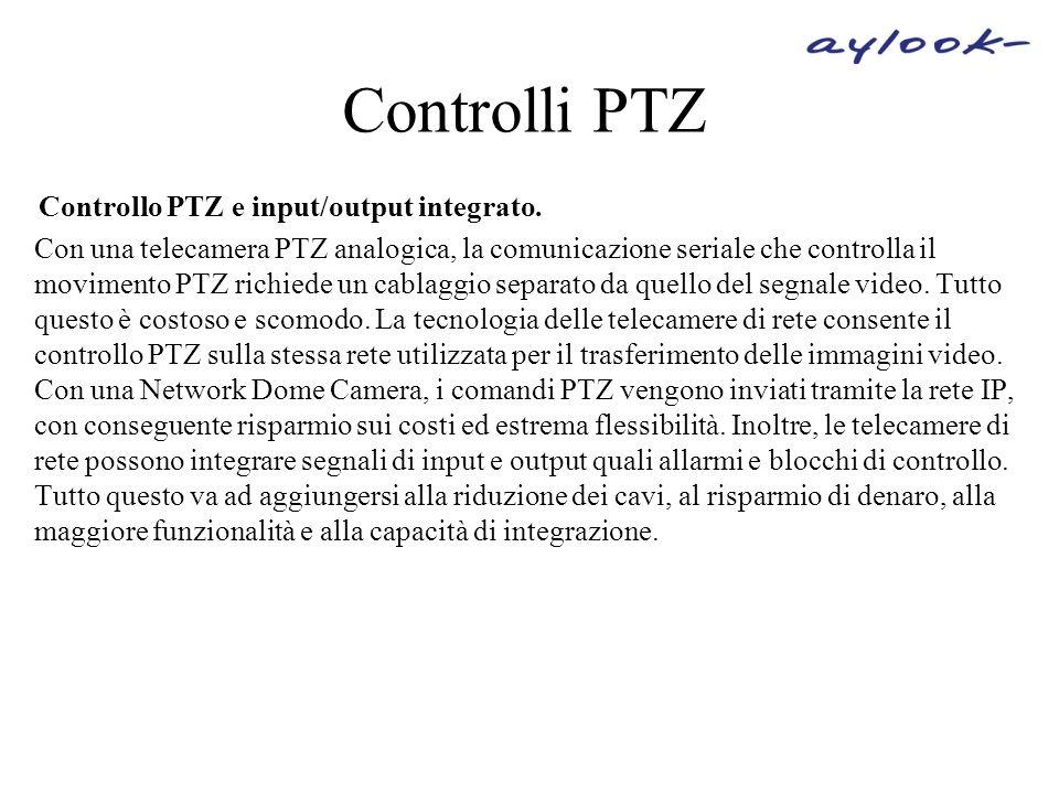 Controlli PTZ Controllo PTZ e input/output integrato. Con una telecamera PTZ analogica, la comunicazione seriale che controlla il movimento PTZ richie