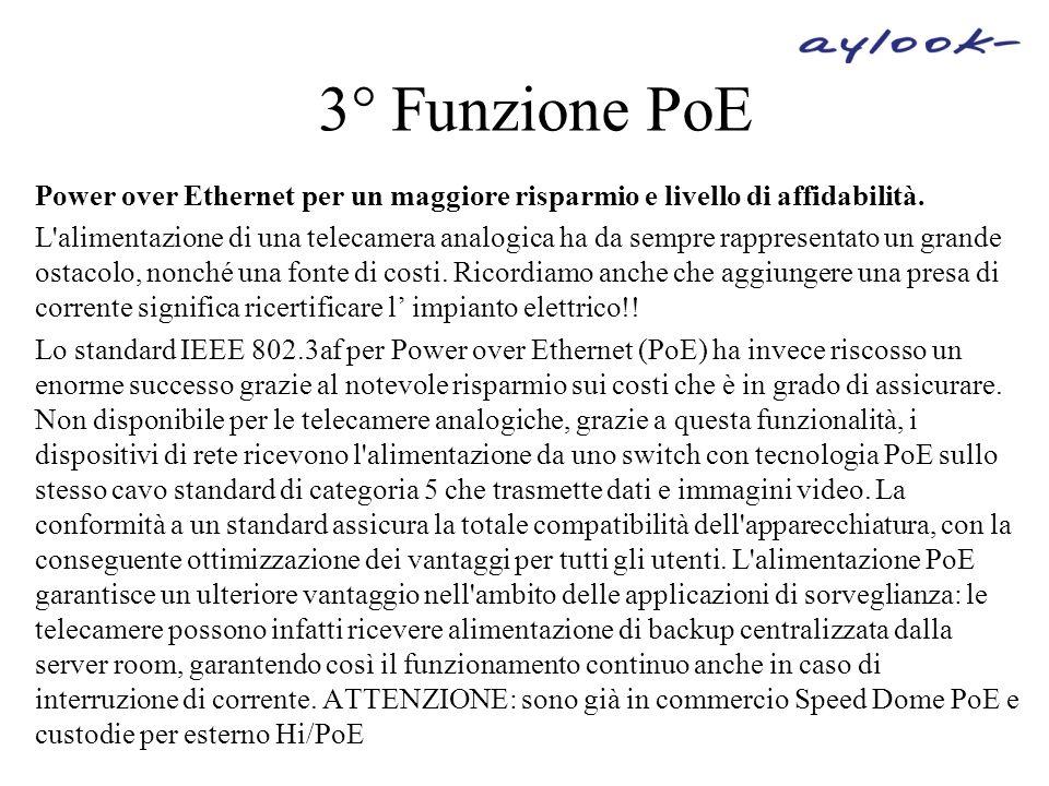 3° Funzione PoE Power over Ethernet per un maggiore risparmio e livello di affidabilità. L'alimentazione di una telecamera analogica ha da sempre rapp