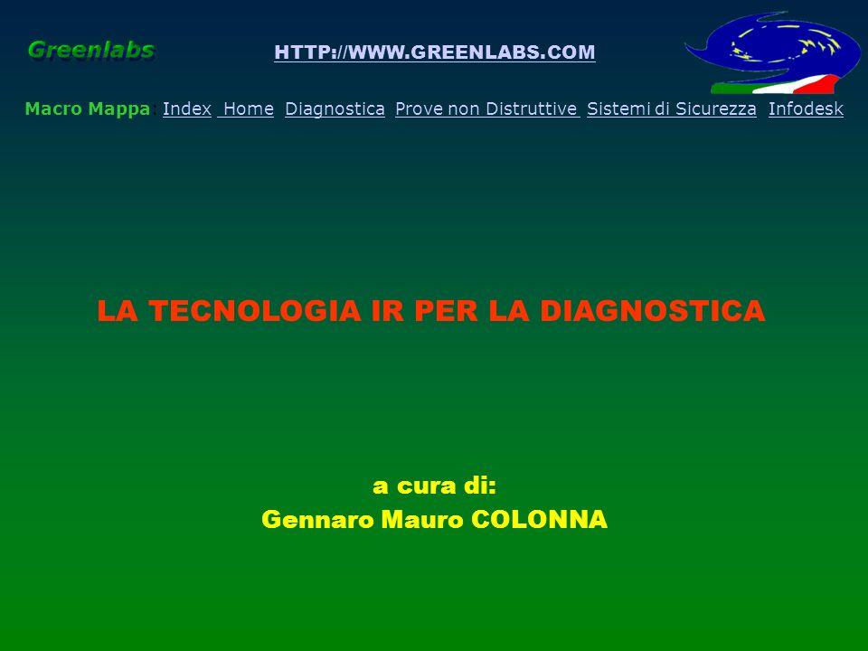 HTTP://WWW.GREENLABS.COM a cura di: Gennaro Mauro COLONNA Macro Mappa: Index Home Diagnostica Prove non Distruttive Sistemi di Sicurezza InfodeskIndex HomeDiagnosticaProve non DistruttiveSistemi di SicurezzaInfodesk LA TECNOLOGIA IR PER LA DIAGNOSTICA Introduzione Concetti di base La trasmissione Atmosferica I Sistemi IR La Segnatura IR