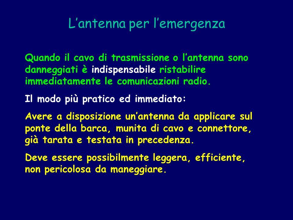 Lantenna per lemergenza Quando il cavo di trasmissione o lantenna sono danneggiati è indispensabile ristabilire immediatamente le comunicazioni radio.