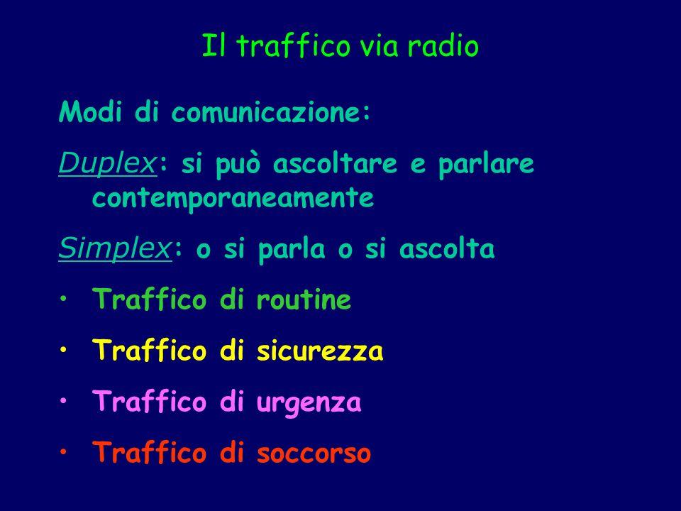 Il traffico via radio Modi di comunicazione: Duplex : si può ascoltare e parlare contemporaneamente Simplex : o si parla o si ascolta Traffico di rout