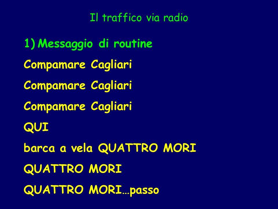 Il traffico via radio 1)Messaggio di routine Compamare Cagliari QUI barca a vela QUATTRO MORI QUATTRO MORI QUATTRO MORI…passo