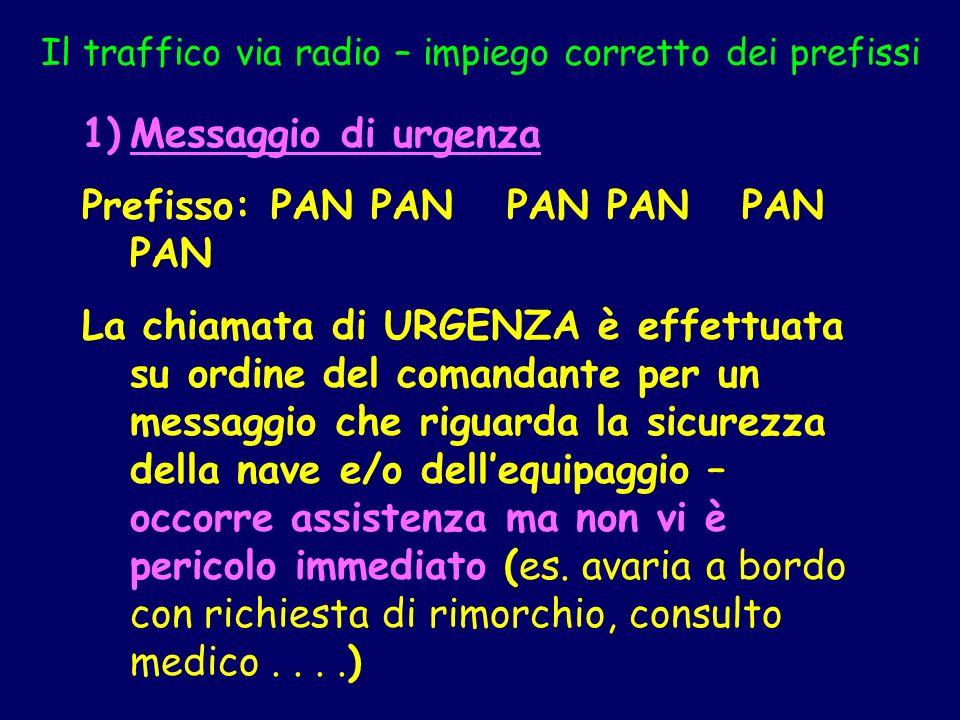 Il traffico via radio – impiego corretto dei prefissi 1)Messaggio di urgenza Prefisso: PAN PAN PAN PAN PAN PAN La chiamata di URGENZA è effettuata su
