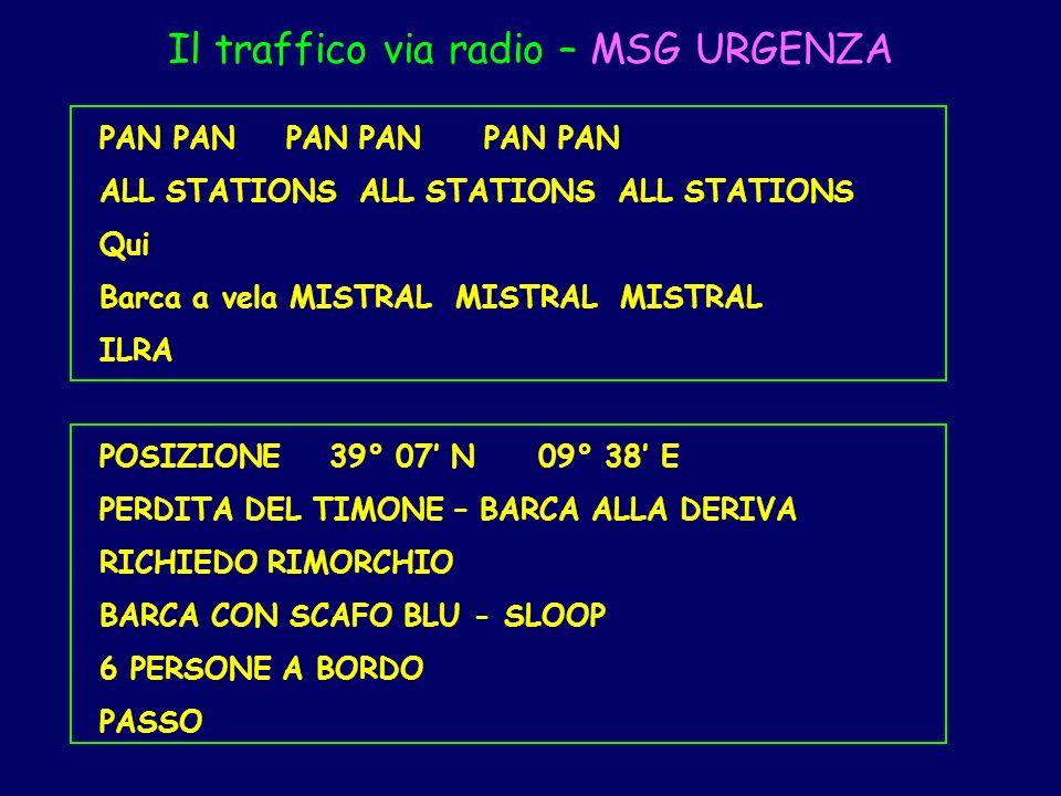 Il traffico via radio – MSG URGENZA PAN PAN PAN ALL STATIONS ALL STATIONS ALL STATIONS Qui Barca a vela MISTRAL MISTRAL MISTRAL ILRA POSIZIONE 39° 07