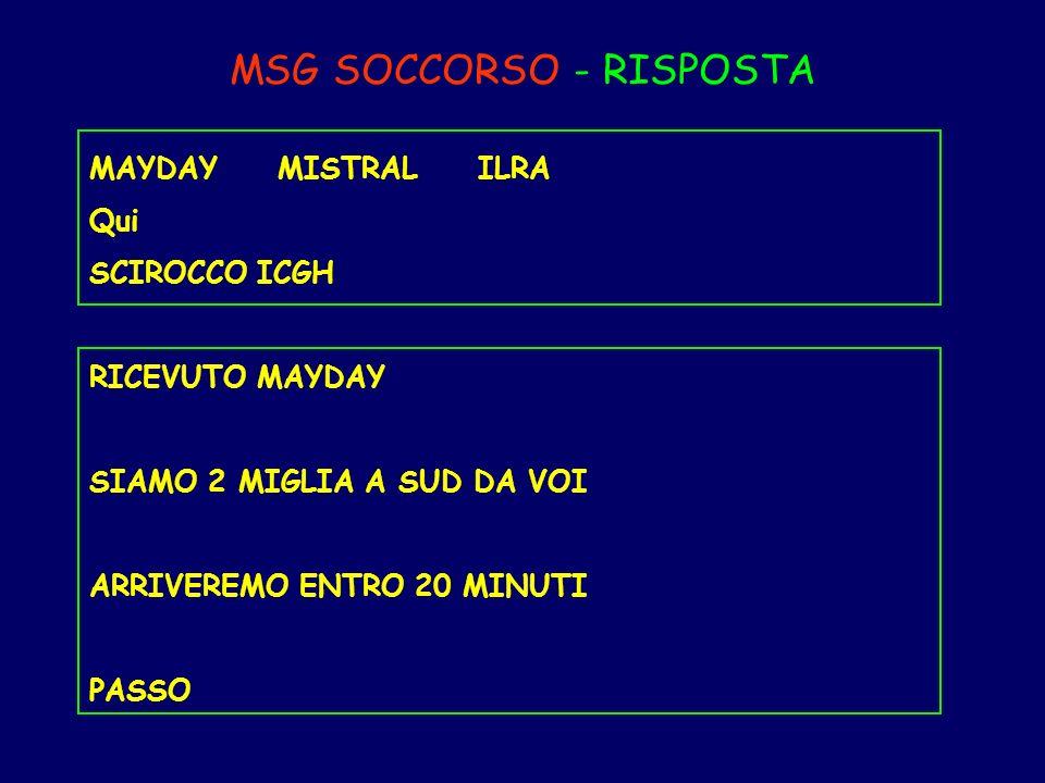 MSG SOCCORSO - RISPOSTA MAYDAY MISTRAL ILRA Qui SCIROCCO ICGH RICEVUTO MAYDAY SIAMO 2 MIGLIA A SUD DA VOI ARRIVEREMO ENTRO 20 MINUTI PASSO