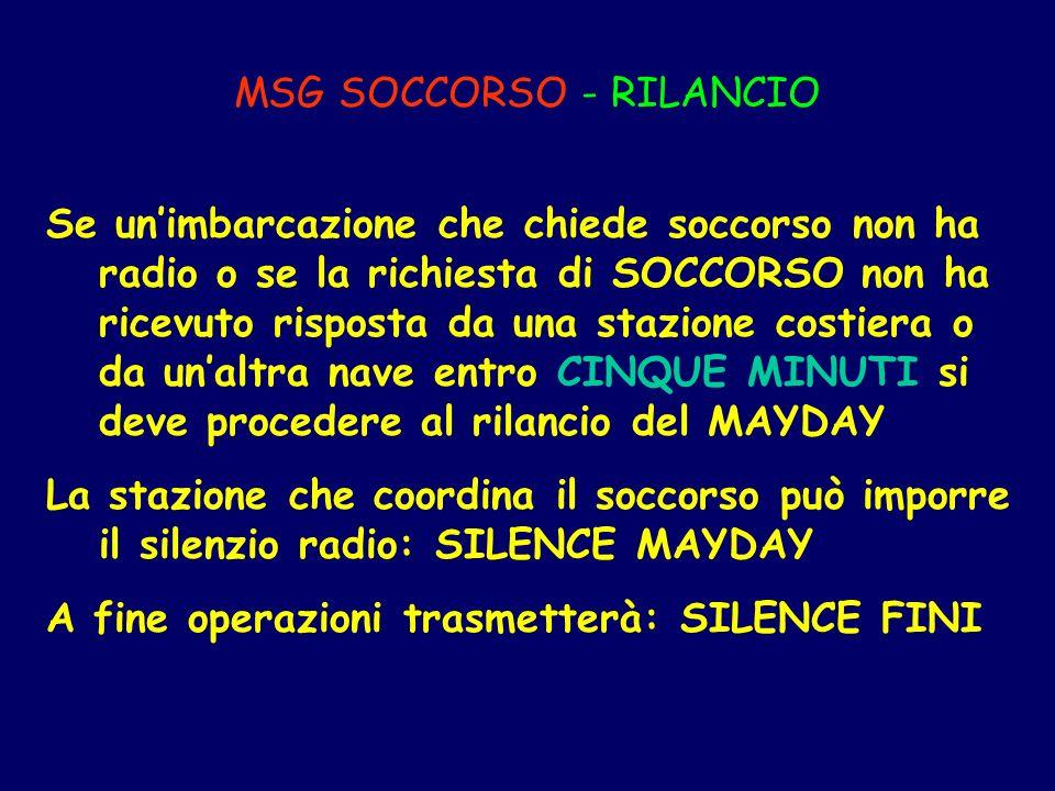 MSG SOCCORSO - RILANCIO Se unimbarcazione che chiede soccorso non ha radio o se la richiesta di SOCCORSO non ha ricevuto risposta da una stazione cost