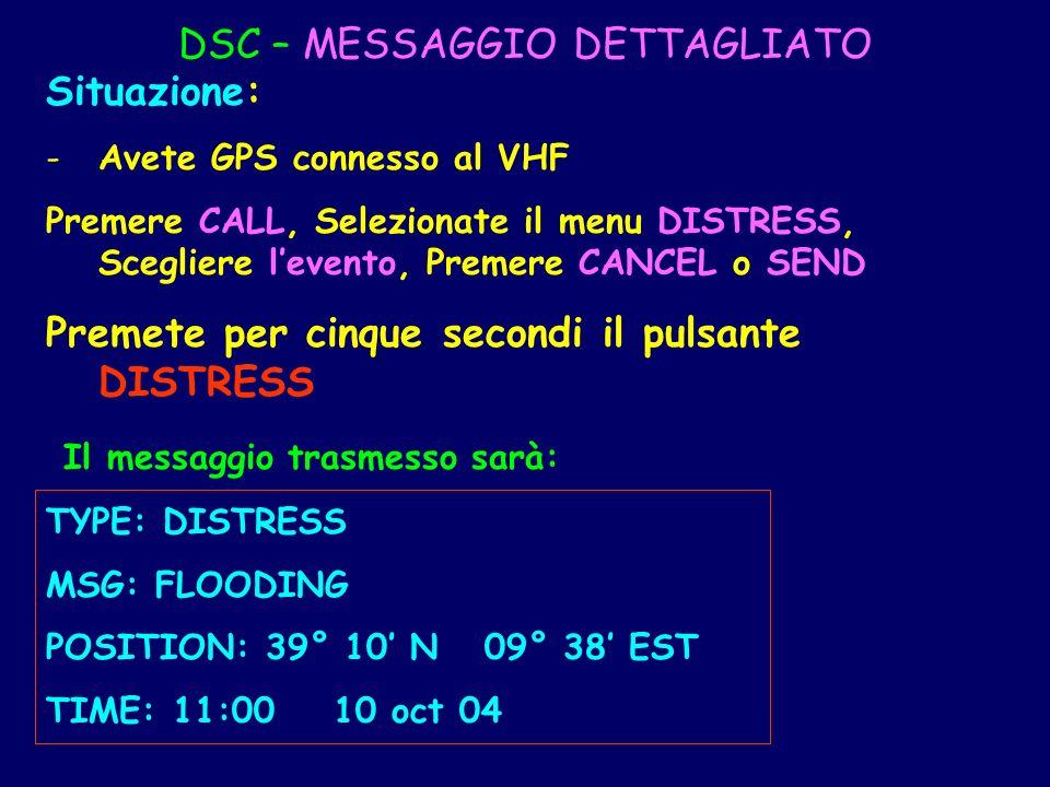 DSC – MESSAGGIO DETTAGLIATO Situazione: -Avete GPS connesso al VHF Premere CALL, Selezionate il menu DISTRESS, Scegliere levento, Premere CANCEL o SEN