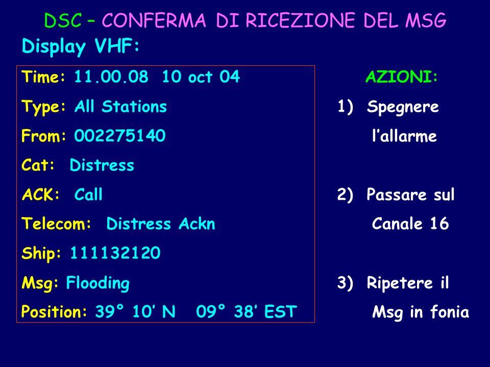 DSC – CONFERMA DI RICEZIONE DEL MSG Display VHF: Time: 11.00.08 10 oct 04 AZIONI: Type: All Stations 1) Spegnere From: 002275140 lallarme Cat: Distres