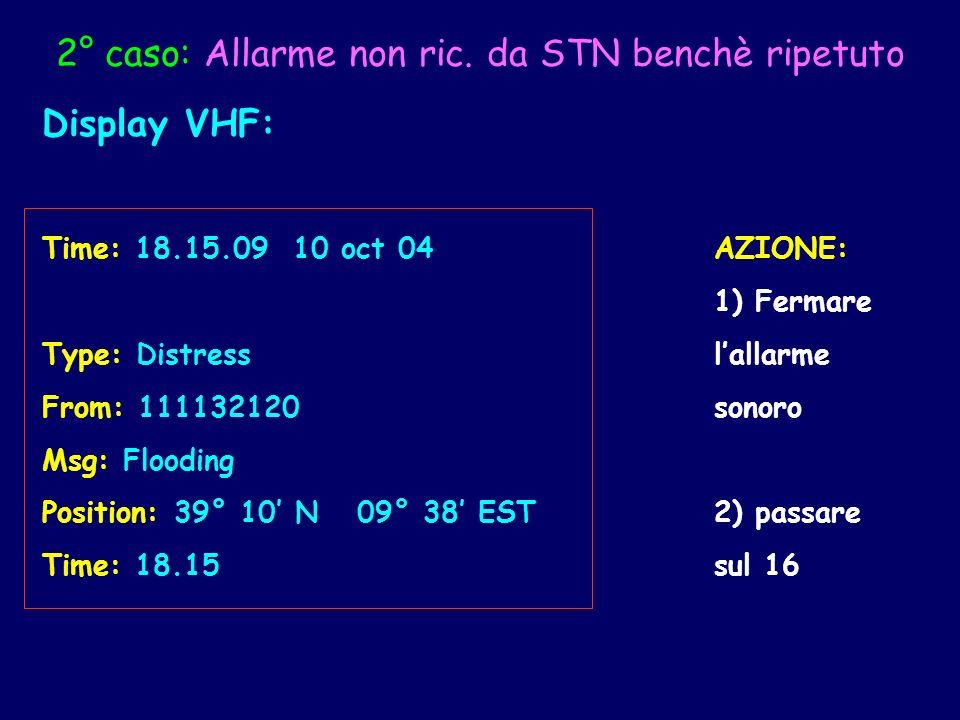 2° caso: Allarme non ric. da STN benchè ripetuto Display VHF: Time: 18.15.09 10 oct 04AZIONE: 1) Fermare Type: Distresslallarme From: 111132120sonoro
