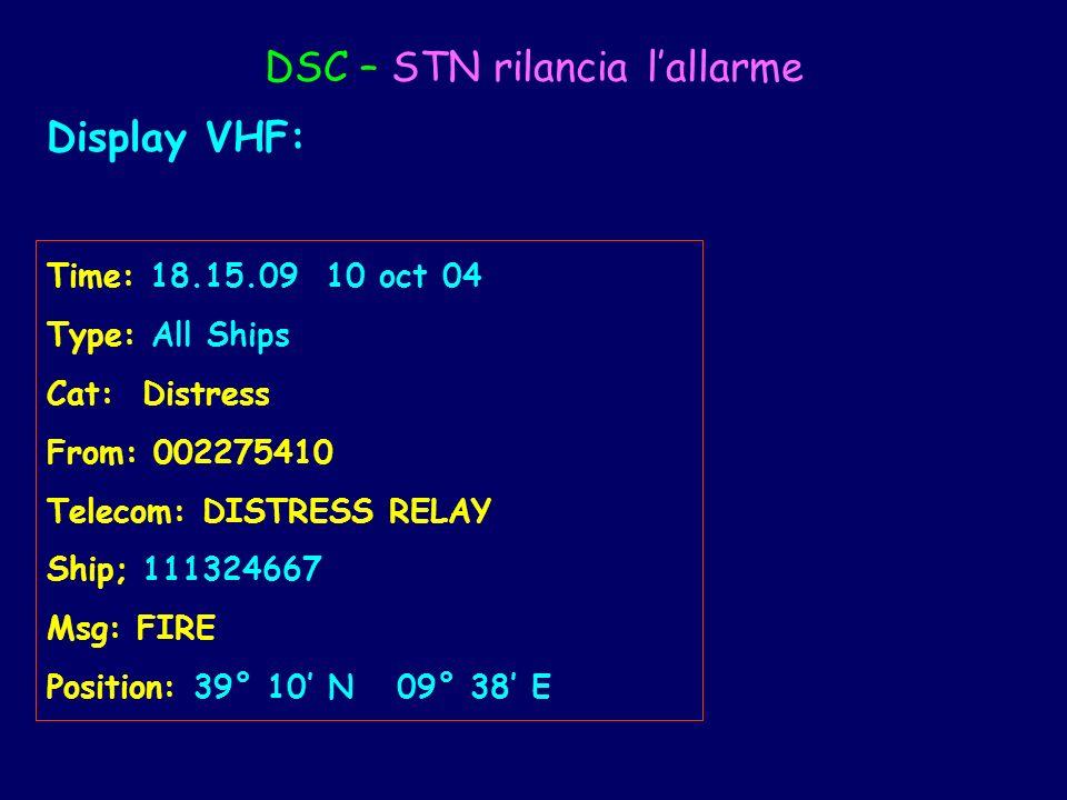 DSC – STN rilancia lallarme Display VHF: Time: 18.15.09 10 oct 04 Type: All Ships Cat: Distress From: 002275410 Telecom: DISTRESS RELAY Ship; 11132466