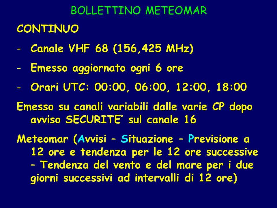 BOLLETTINO METEOMAR CONTINUO -Canale VHF 68 (156,425 MHz) -Emesso aggiornato ogni 6 ore -Orari UTC: 00:00, 06:00, 12:00, 18:00 Emesso su canali variab