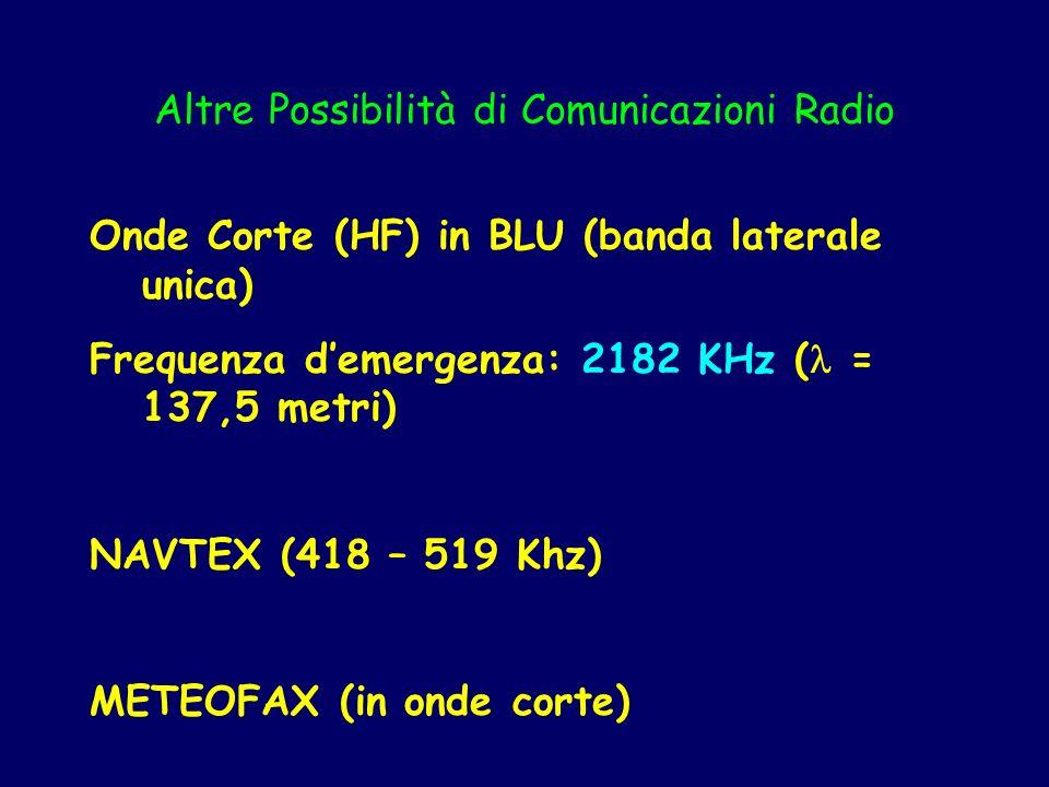 Altre Possibilità di Comunicazioni Radio Onde Corte (HF) in BLU (banda laterale unica) Frequenza demergenza: 2182 KHz ( = 137,5 metri) NAVTEX (418 – 5