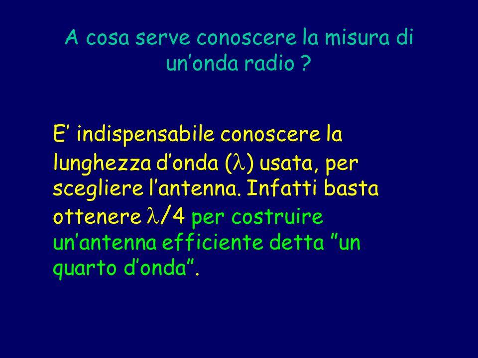 A cosa serve conoscere la misura di unonda radio ? E indispensabile conoscere la lunghezza donda ( ) usata, per scegliere lantenna. Infatti basta otte