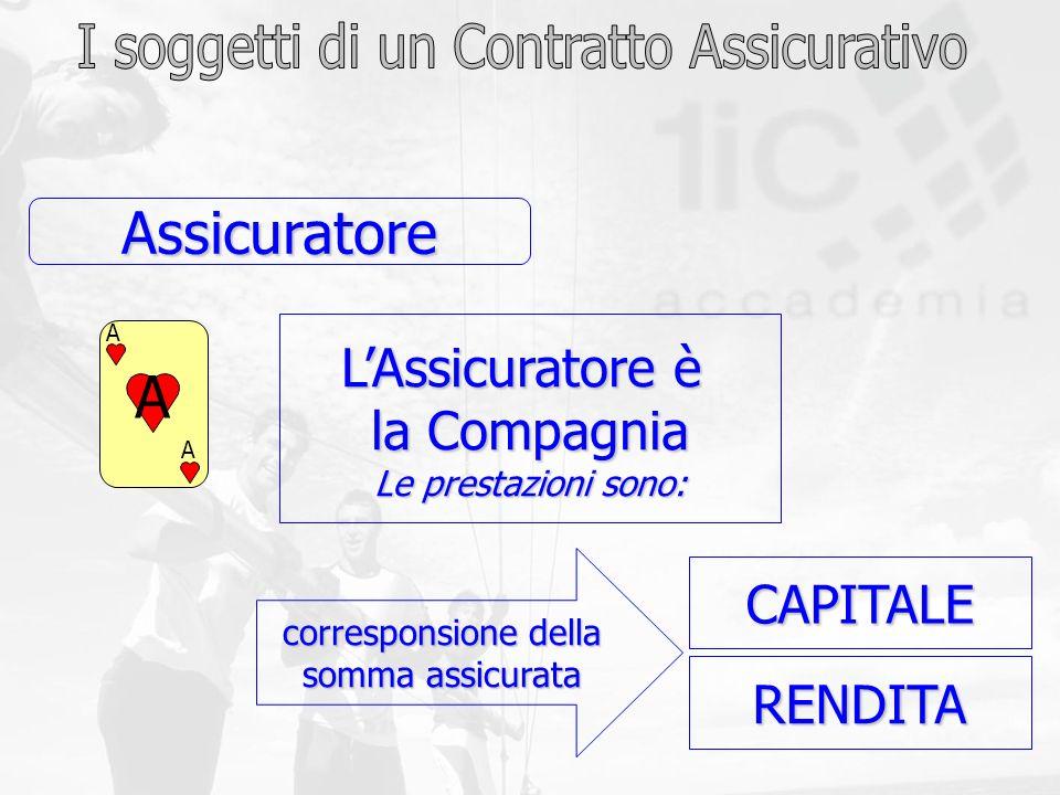 RENDITA CAPITALE Assicuratore corresponsione della somma assicurata LAssicuratore è la Compagnia Le prestazioni sono: A A A