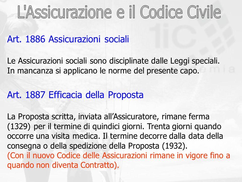 Art. 1886 Assicurazioni sociali Le Assicurazioni sociali sono disciplinate dalle Leggi speciali. In mancanza si applicano le norme del presente capo.