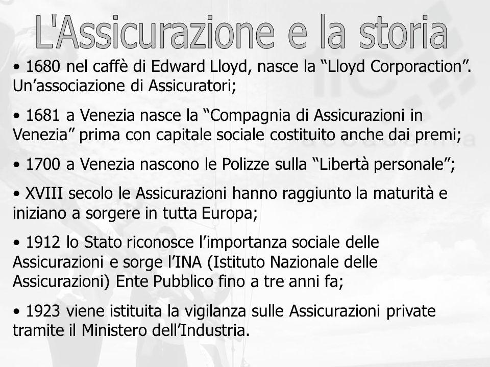 1680 nel caffè di Edward Lloyd, nasce la Lloyd Corporaction. Unassociazione di Assicuratori; 1681 a Venezia nasce la Compagnia di Assicurazioni in Ven
