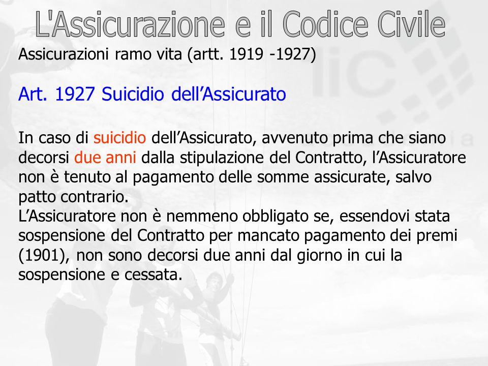 Art. 1927 Suicidio dellAssicurato In caso di suicidio dellAssicurato, avvenuto prima che siano decorsi due anni dalla stipulazione del Contratto, lAss