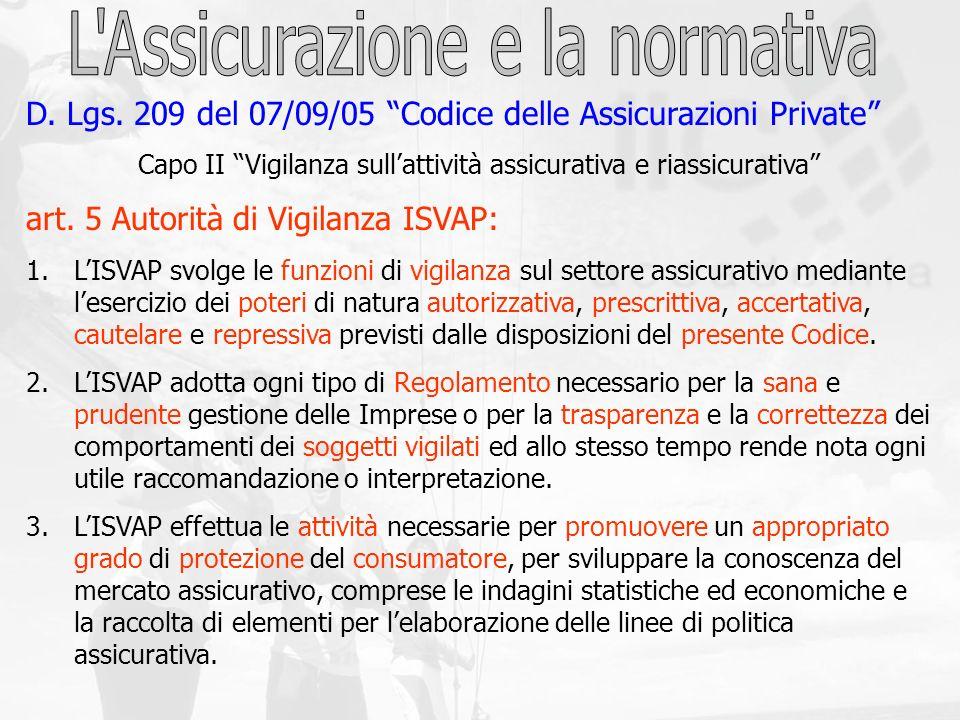 D. Lgs. 209 del 07/09/05 Codice delle Assicurazioni Private Capo II Vigilanza sullattività assicurativa e riassicurativa art. 5 Autorità di Vigilanza
