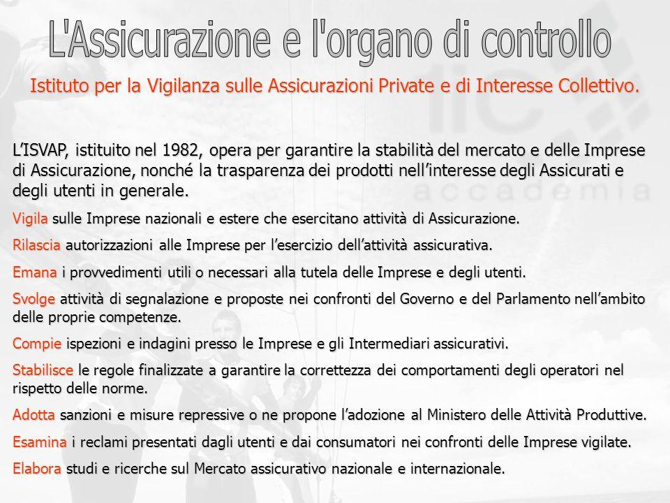 Istituto per la Vigilanza sulle Assicurazioni Private e di Interesse Collettivo. LISVAP, istituito nel 1982, opera per garantire la stabilità del merc