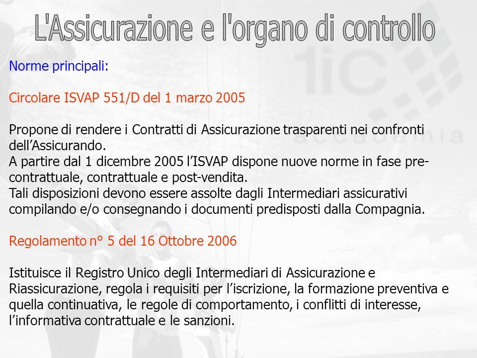 Norme principali: Circolare ISVAP 551/D del 1 marzo 2005 Propone di rendere i Contratti di Assicurazione trasparenti nei confronti dellAssicurando. A