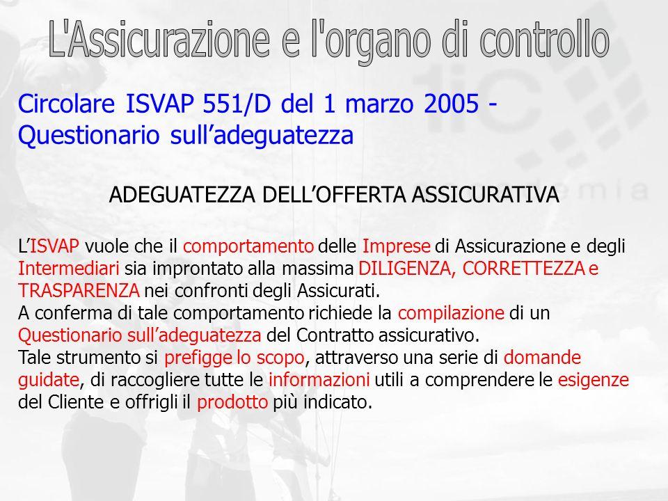 Circolare ISVAP 551/D del 1 marzo 2005 - Questionario sulladeguatezza ADEGUATEZZA DELLOFFERTA ASSICURATIVA LISVAP vuole che il comportamento delle Imp