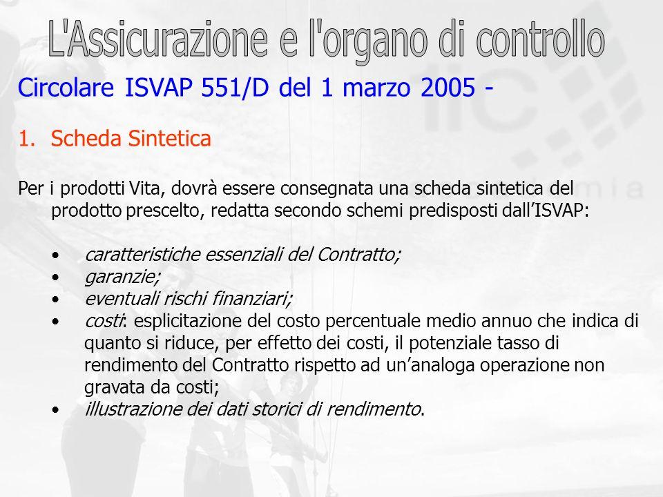 Circolare ISVAP 551/D del 1 marzo 2005 - 1.Scheda Sintetica Per i prodotti Vita, dovrà essere consegnata una scheda sintetica del prodotto prescelto,