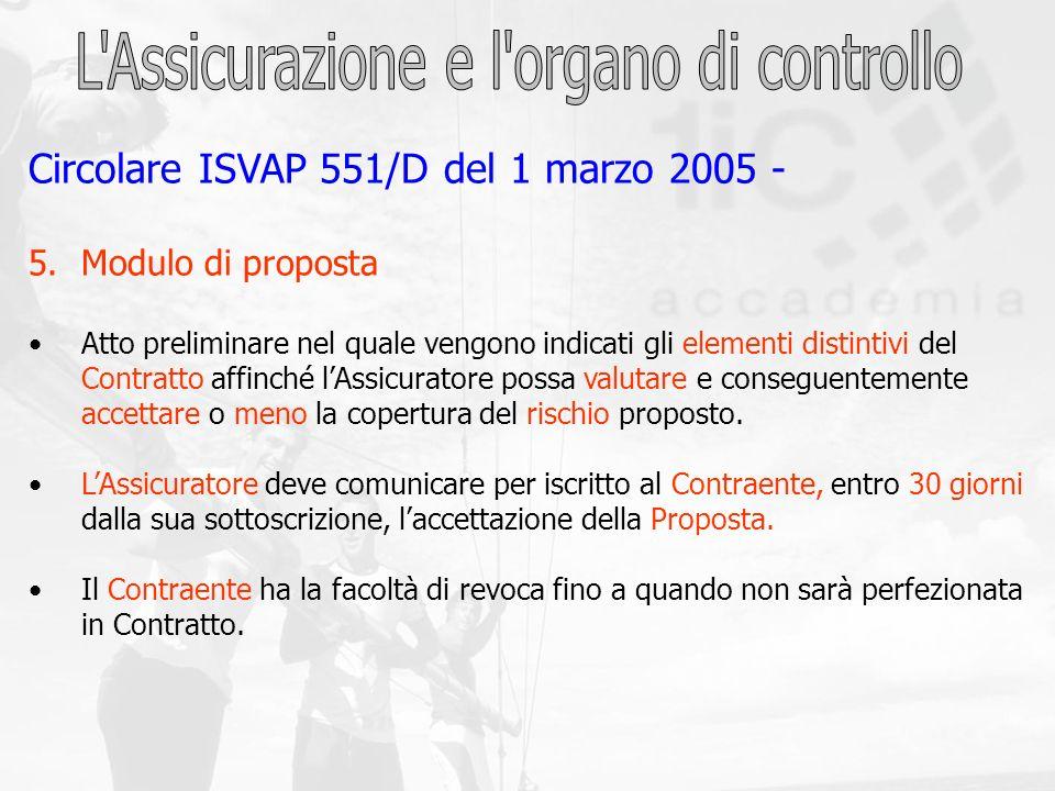 Circolare ISVAP 551/D del 1 marzo 2005 - 5.Modulo di proposta Atto preliminare nel quale vengono indicati gli elementi distintivi del Contratto affinc