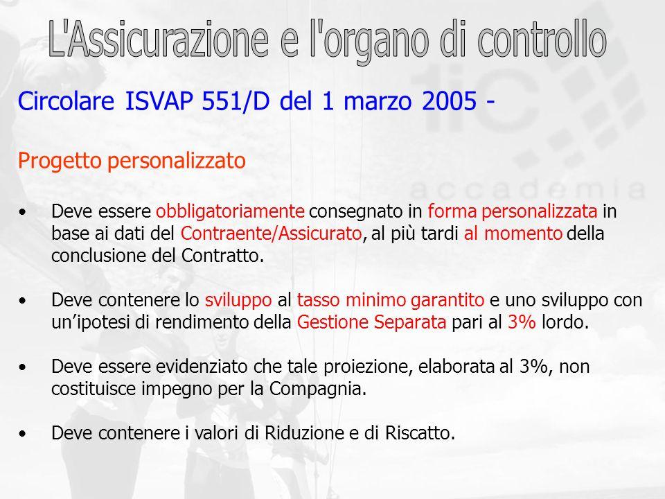 Circolare ISVAP 551/D del 1 marzo 2005 - Progetto personalizzato Deve essere obbligatoriamente consegnato in forma personalizzata in base ai dati del