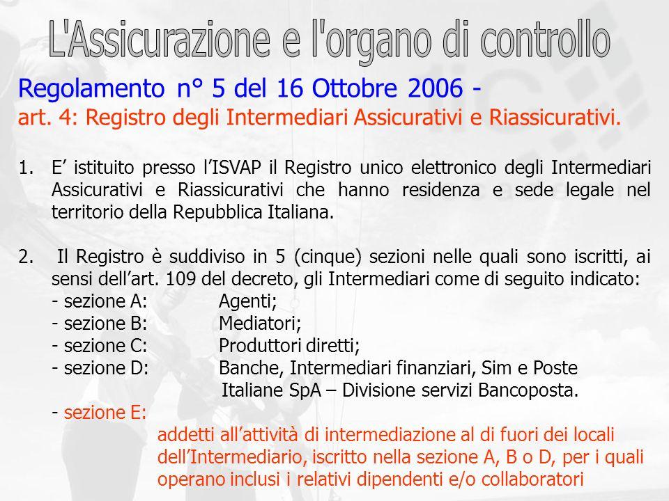 Regolamento n° 5 del 16 Ottobre 2006 - art. 4: Registro degli Intermediari Assicurativi e Riassicurativi. 1.E istituito presso lISVAP il Registro unic