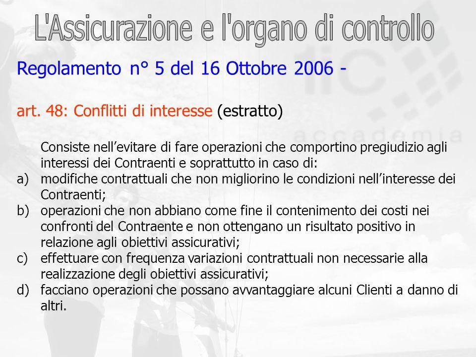 Regolamento n° 5 del 16 Ottobre 2006 - art. 48: Conflitti di interesse (estratto) Consiste nellevitare di fare operazioni che comportino pregiudizio a