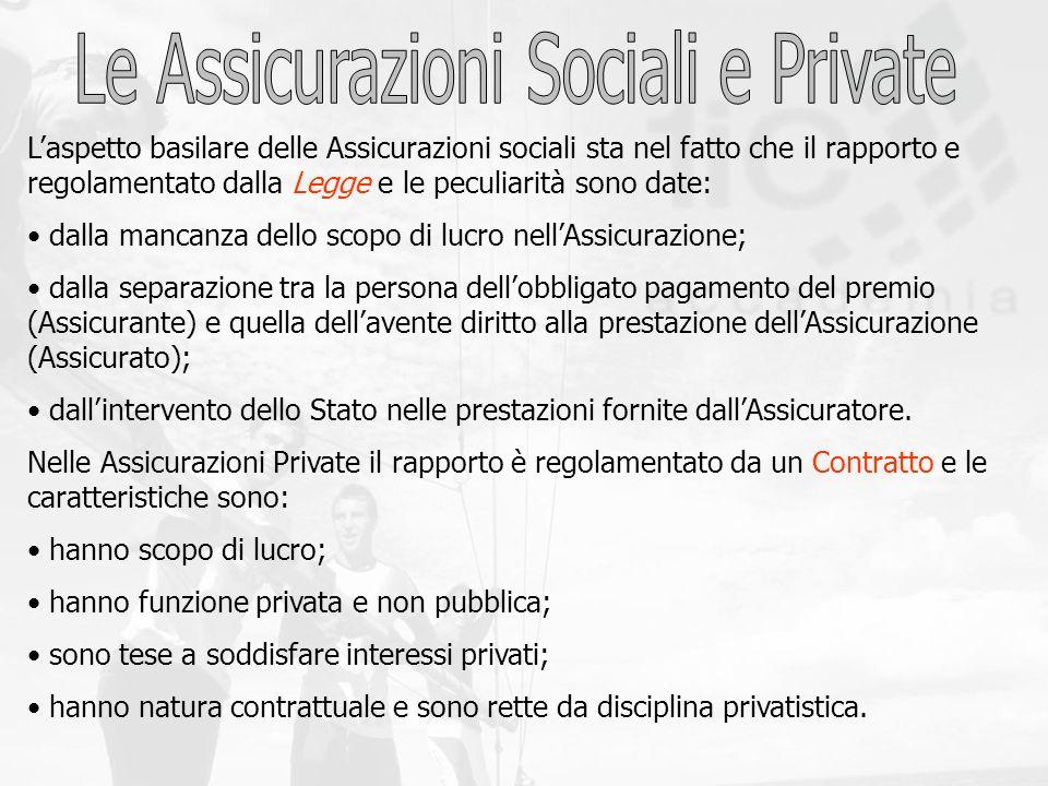 Laspetto basilare delle Assicurazioni sociali sta nel fatto che il rapporto e regolamentato dalla Legge e le peculiarità sono date: dalla mancanza del