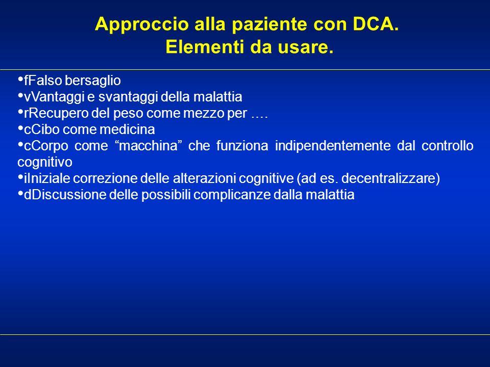 Approccio alla paziente con DCA. Elementi da usare. fFalso bersaglio vVantaggi e svantaggi della malattia rRecupero del peso come mezzo per …. cCibo c
