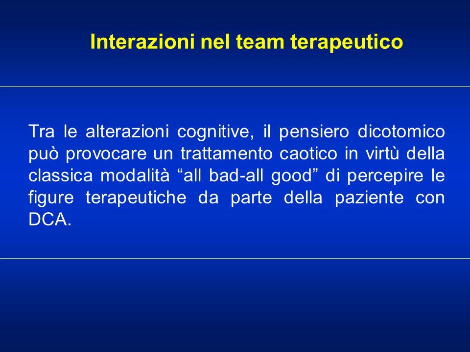 Interazioni nel team terapeutico Tra le alterazioni cognitive, il pensiero dicotomico può provocare un trattamento caotico in virtù della classica mod