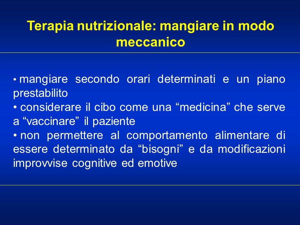 Terapia nutrizionale: mangiare in modo meccanico mangiare secondo orari determinati e un piano prestabilito considerare il cibo come una medicina che