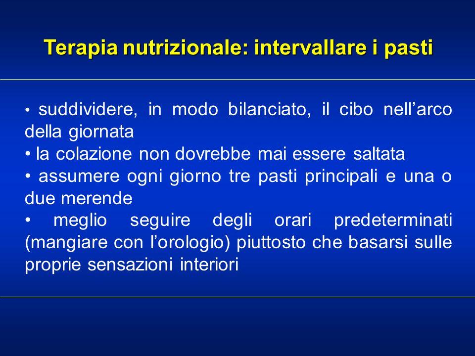 Terapia nutrizionale: intervallare i pasti suddividere, in modo bilanciato, il cibo nellarco della giornata la colazione non dovrebbe mai essere salta