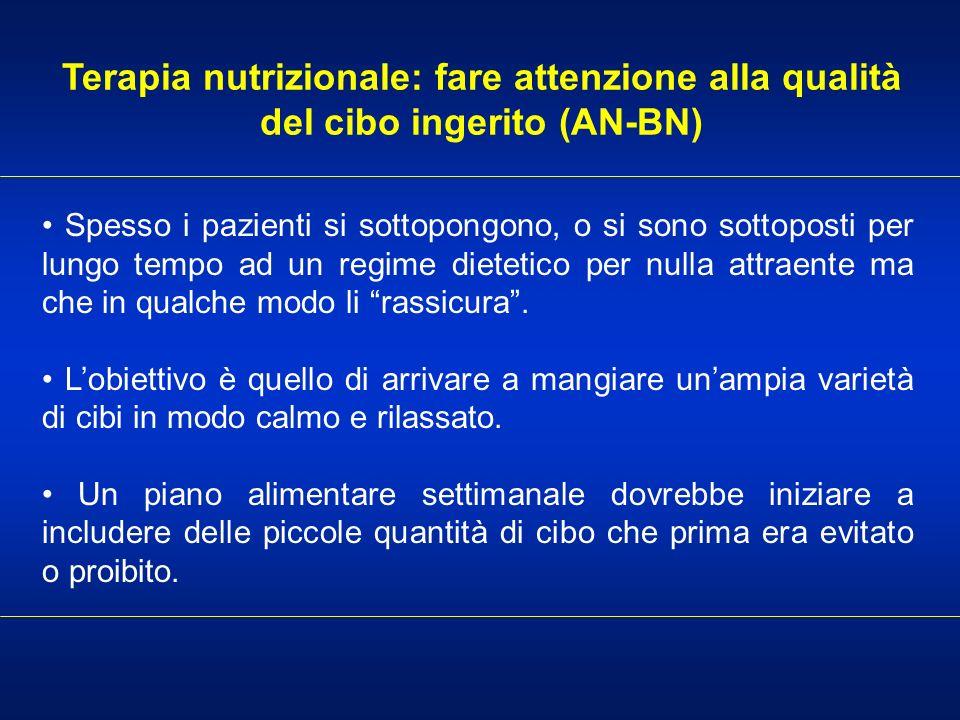 Terapia nutrizionale: fare attenzione alla qualità del cibo ingerito (AN-BN) Spesso i pazienti si sottopongono, o si sono sottoposti per lungo tempo a
