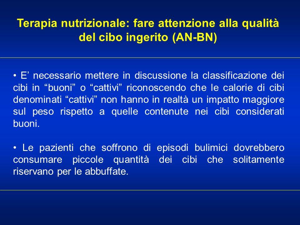 Terapia nutrizionale: fare attenzione alla qualità del cibo ingerito (AN-BN) E necessario mettere in discussione la classificazione dei cibi in buoni